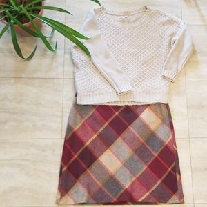 Talbots fully lined plaid wool blend A-line skirt